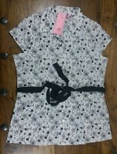 WOMEN'S WHITE BLOUSE WITH BLACK FLOWERS & BLACK TIE WAIST SIZE 18 NEW WITH TAGS