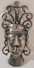 Old Jewelry Ornate Silver Plate Pin Native Goddess Mask w/ Headdress