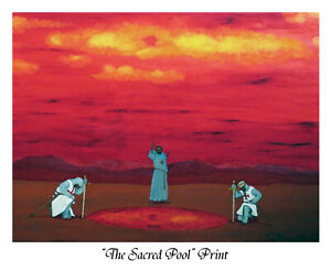 """""""Sacred Pool"""", Print of oil painting by Robert Marquiss, white border, no frame"""