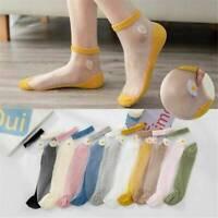 1Pair Ultra Thin Socks Women Crystal Silk Daisy Flower Short Breathable Socks