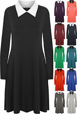 Women's No Pattern Long Sleeve Collared Stretch, Bodycon Dresses