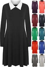 Viscose Patternless Collar Long Sleeve Dresses for Women
