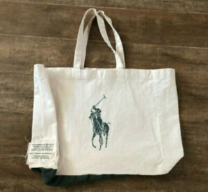 Polo Ralph Lauren Foundation Large Tote Bag Organic Inks Cotton Big Green Horse