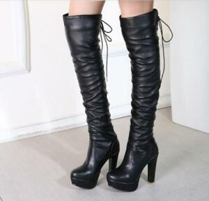 Women's High Heels Platform Pull On Black Over Knee Thigh High Boots Winter Size