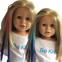 Clip In Hair Extensions Light Blue/Blue & Pink/Purple For 18 inch Dolls