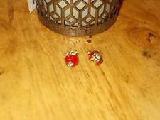 Apple Crystal Rhinestone Enamel Earrings