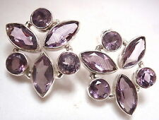 Large Amethyst 6-Gem Faceted Stud Earrings 925 Sterling Silver Marquise Round