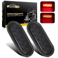2) 6 Inch Oval 6 Red Led Stop Turn Tail Light Smoke Lens + Rubber Grommets+Plugs