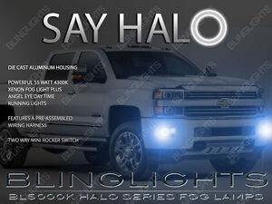 White Halo Fog lamp Driving light Kit For 2014-2019 GMC Sierra 1500 2500 3500 HD