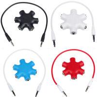 5 Way 3.5mm Audio Jack Hub Headphone Headset Earphone Aux Multi Splitter jyr