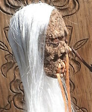 LONG WHITE HAIRED SHRUNKEN HEAD MIRROR DANGLE GOTH ROCKABILLY SURFER RECYCLED
