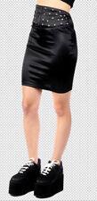 *Lip Service Fashion Victim High Waist Studded Bodycon Black Satin Skirt Goth XS