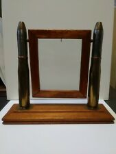 Vintage WW2 Swing Picture Frame Bullet Brass Glass Trench Art