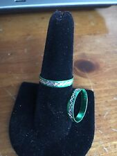Green aluminium with silver etching Ring  Size 7.5