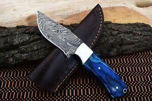 """8"""" MH KNIVES CUSTOM DAMASCUS STEEL SILVER BOLSTER HUNTING/SKINNER KNIFE D-62K"""