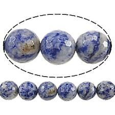 15 inch strand 6mm Facted Blue Spot Stone Beads(60-62 beads)-8701