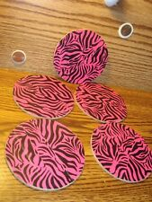 """#5 Animal Print DUCKTAPE design & Natural Cork Drink Coasters Placemats 3.5"""" in"""