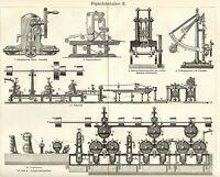 Papierherstellung Papiermaschine Kalander Holzstiche  von 1905 Kugelkocher