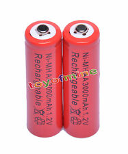 2x AA 2A 3000mAh 1.2V Ni-Mh Red Color Rechargeable Battery Alarm Clock MP3 RC