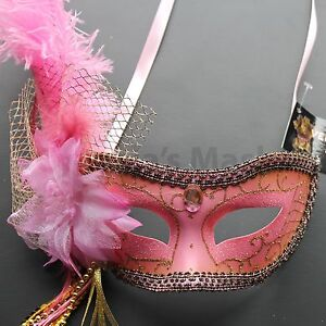 Venetian Masquerade Mask w/Ostrich Feathers 8+ Colors to pick up Mardi Gras