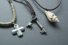3 NEW Leather Men's Hemp Metal Surfer Necklace Choker