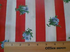 Fabric-Red/White Stripe American Retro Blue Flowers
