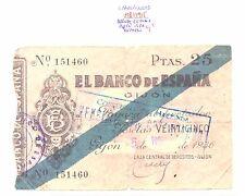 BILLETE DE 25 PESETAS AÑO 1936 GIJON  ( roturas )   ( MB11915 )