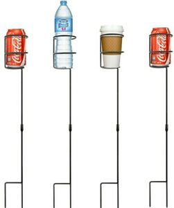 Heavy Duty Beverage Drink Holder Stakes - Holds a Variety of Beverages Outdoor