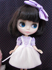 Blythe Doll Outfit Purple White Lace  Dress  + Hair Bow Set