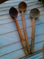 ANTIQUE PRIMITIVE OLD HAND MADE /CARVED WOODEN SPOON PADDLE SET OF 3