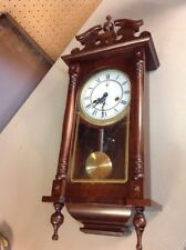 WORKS!! VINTAGE POLARIS 31 DAY WOOD WALL DOUBLE CHIMING CLOCK