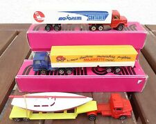 Majorette 3 x LKW´s of which 2 x with Semi-trailer,1x Low loader with