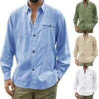 03 Men's Cotton Linen Lapel Shirt Casual Loose Long Sleeve Button Down Plain Top