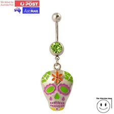 Calavera Mexican Sugar Flower Skull Gem Belly Button Ring Navel Barbell Dangle