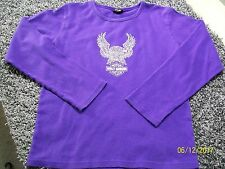 HARLEY DAVIDSON Purple Silver Eagle Graphic Logo Top Tee/T-Shirt M/Medium 8-10