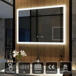 Led Badezimmerspiegel 80x60cm mit Beleuchtung Uhr Beschlagfrei Touch Badspiegel