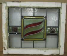 "OLD ENGLISH LEADED STAINED GLASS WINDOW Colorful Abstract Design 19.5"" x 16.75"""