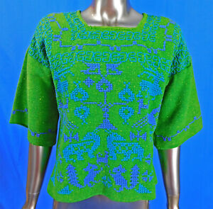 Vintage Mexican Green Woven Wool Blue Cross Stitch Embroidery Animal Peasant Top