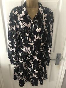Brand New Oasis Black Flower Patterned Shirt dress Plus size 18