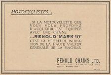 Y9905 Chane pour motocyclette RENOLD MARK 10 - Pubblicità d'epoca - 1930 Old Ad