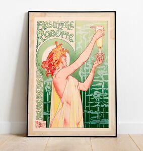 Vintage Absinthe Poster, Art Nouveau Print, Art Nouveau Art, Absinthe Print