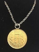 """Victorian Soverign Coin WC33 Gold Pewter On a 18"""" Silver Plated Chain Necklace"""