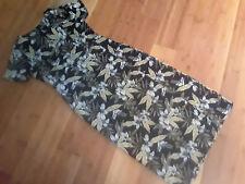 Tommy Bahama sun dress black olive print long silk women sz 8