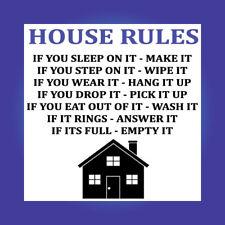House Rules Funny Family Sign Vinyl Sticker Joke Home Kids Tidy Clean D137
