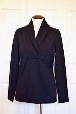 NEW Talbots Women's Size M Black Long Sleeve Cotton V-Neck Blouse