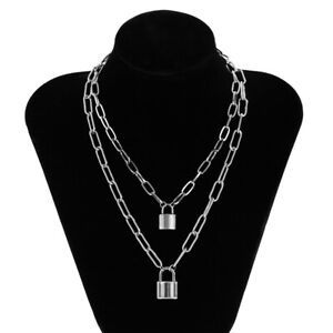 Goth Stainless Steel Chain Lock Pendant Necklaces For Women Men Punk Jewelry