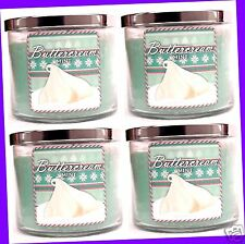 4 Bath & Body Works BUTTERCREAM MINT 14.5 oz Large 3-Wick Candle LOT