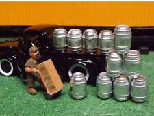 """O SCALE"" BEER KEG SET 16 SILVER  BARRELS DIORAMA MODEL TRAIN SET of 16 KEGS"
