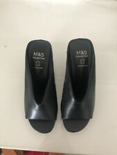 Marks And Spencer Black Mules Brand New Leather Size 36