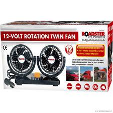 12V Dual Twin Fan Truck Car Lorry Caravan 360 Rotation Cool 2 Speed Fan New